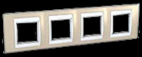 Рамка на 4 поста. Цвет Песчаный/Белый. Schneider electric Unica Хамелеон. MGU6.008.867