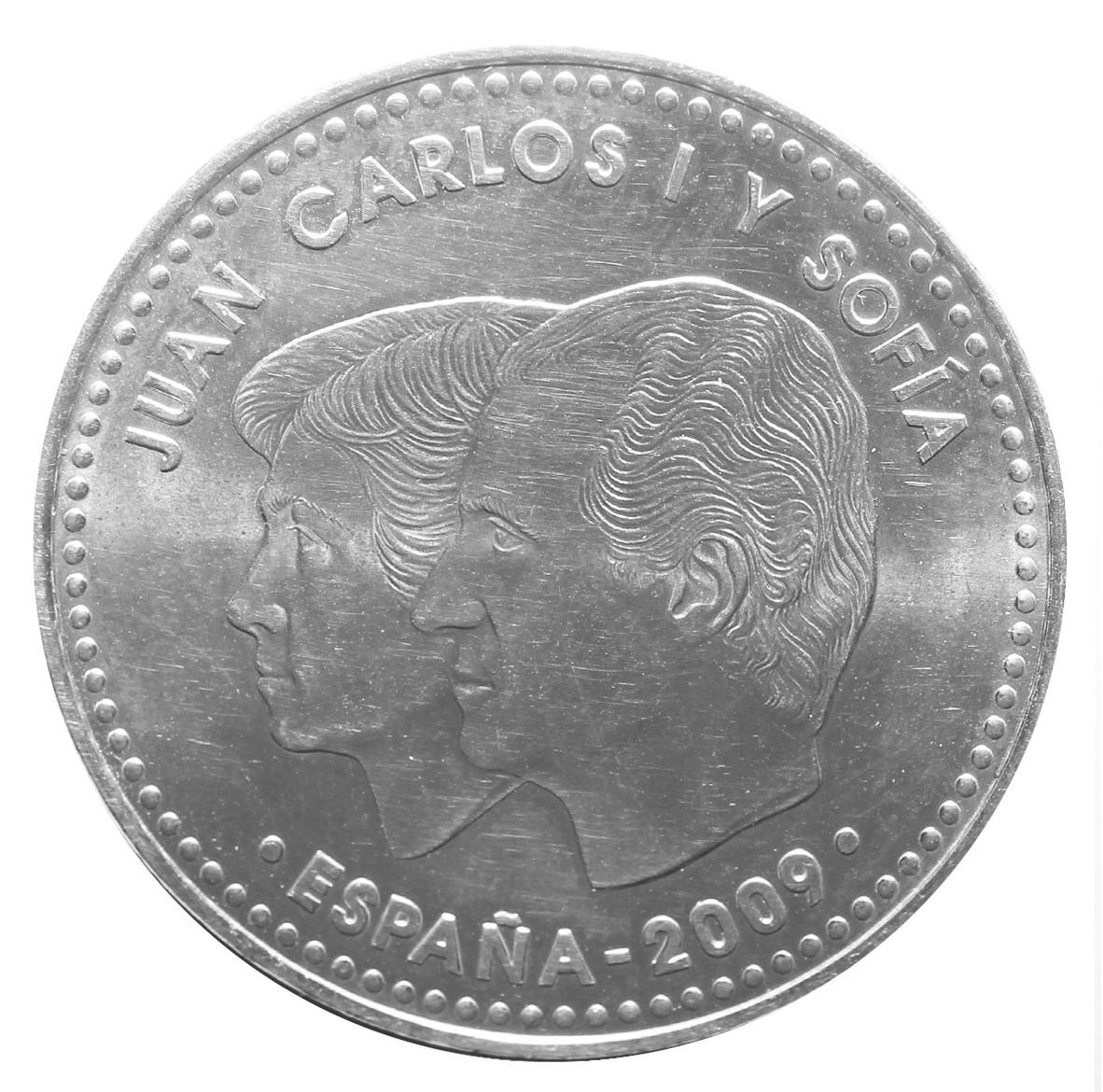 12 евро 2009 Испания - 10 лет монетарной политике ЕС и введения евро. AU Серебро