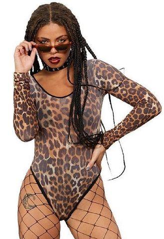 Леопардовое боди с длинным рукавом