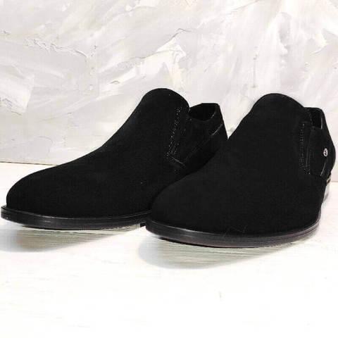 Черные туфли мужские лоферы. Классические туфли замшевые Ikoc-BS.