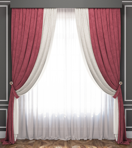 Комплект штор и тюль Ламанш бело-розовый