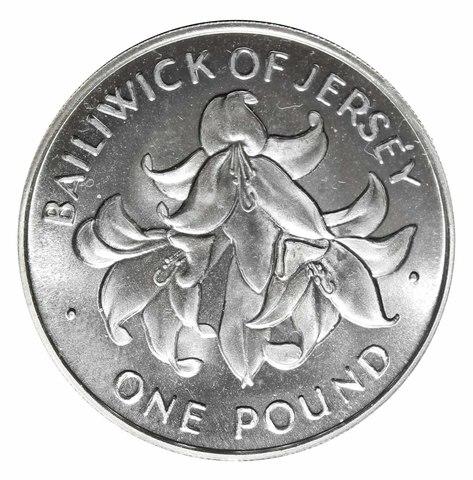1 фунт. 25 лет свадьбе Королевы Елизаветы II и принца Филиппа. Остров Джерси. 1972 год. Серебро. UNC