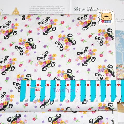 Ткань для пэчворка 20939 (панды с цветами) 45х55см