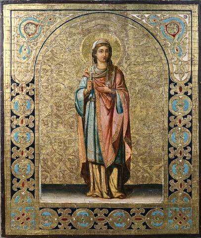 Икона святая мученица Фаина Анкирская (Коринфская) на дереве на левкасе мастерская Иконный Дом