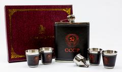 Подарочный набор СССР из фляги 540 мл, 4-х стопок и воронки, фото 5