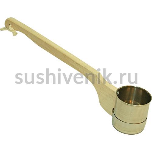 Ковш металлический, ручка из липы
