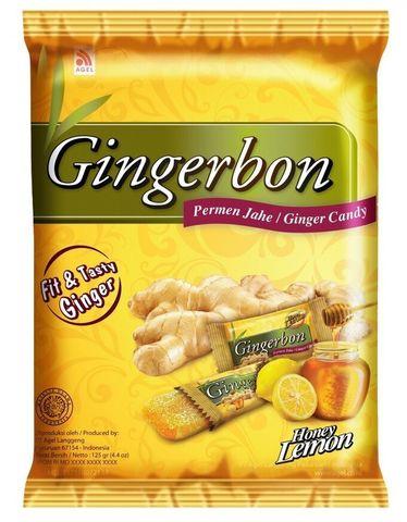 Имбирные конфеты жевательные с медом и лимоном Gingerbon, 125г