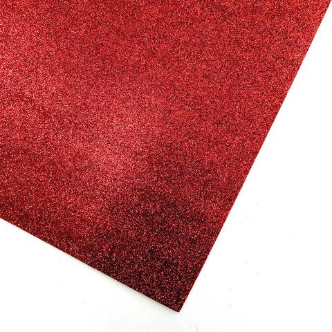 Глиттерный фоамиран 20х30х2 мм красный