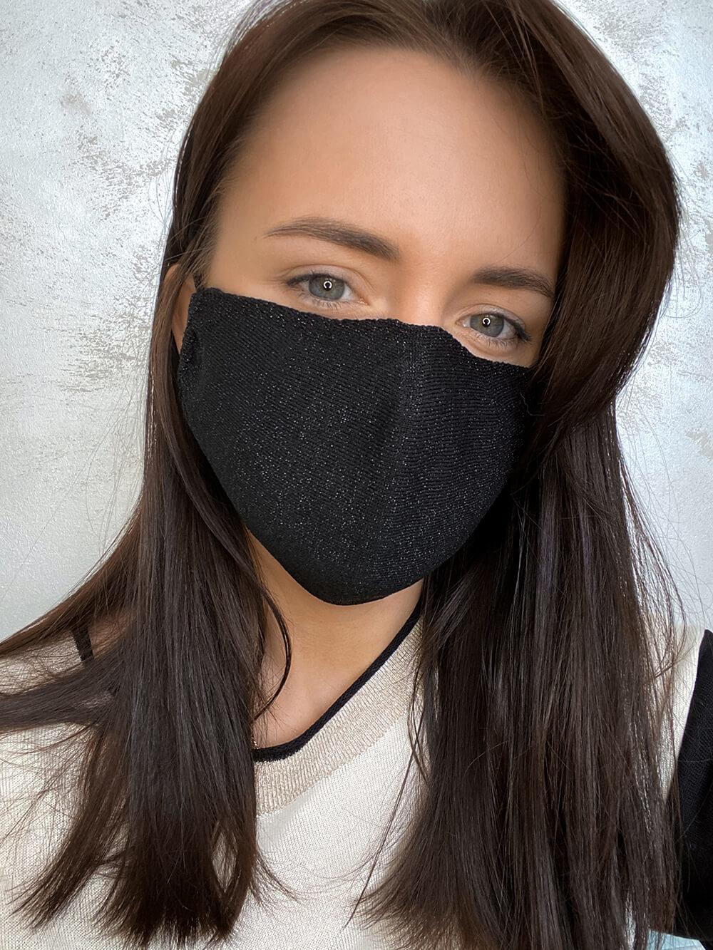 Женская гигиеническая трикотажная маска черного цвета - фото 1