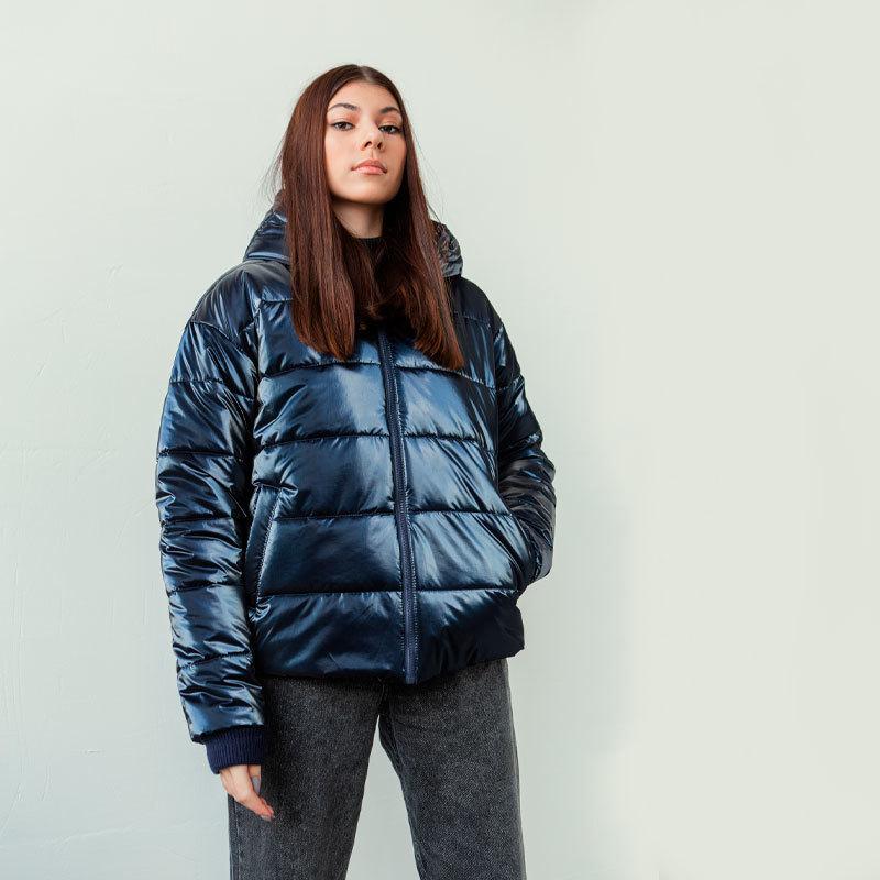 Демісезонна підліткова куртка для дівчинки в синьому кольорі