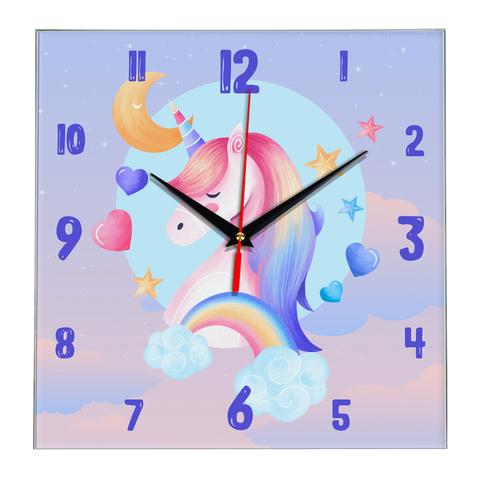 Часы настенные 28 см/ Детские часы Единорог ЧЗ ИДЕАЛ, плавный бесшумный механизм