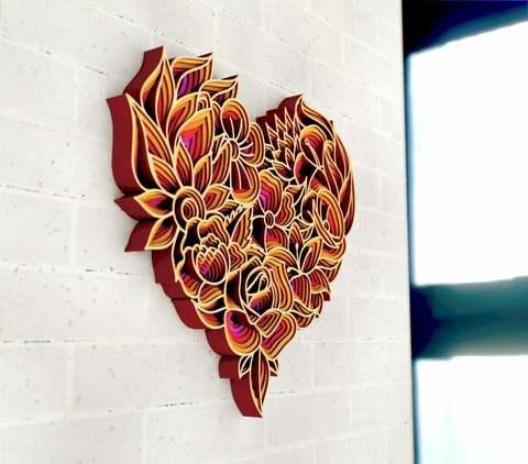 Мандала Сердце от SamCraft - сборные объемные 3D картины из дерева своими руками
