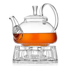 """Стеклянный заварочный чайник с подогревом от свечи """"Георгин"""", 600 мл"""