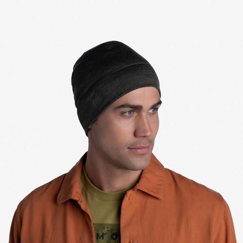 Тонкая шерстяная шапка Buff Hat Wool Iightweight Solid Bark фото 2