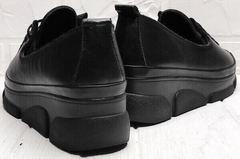 Женские кожаные кеды туфли на танкетке Mario Muzi 1350-20 Black.