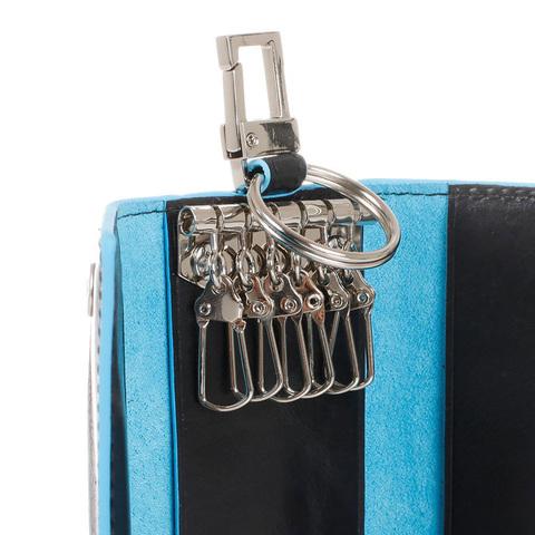 Ключница Piquadro Blue Square, синяя, 6х12х2 см