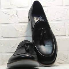 Кожаные лоферы с кисточками мужские Luciano Bellini 91178-E-212 Black.