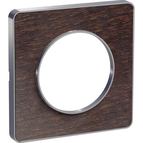 Рамка на 1 пост. Цвет Венге, алюминиевая вставка. Schneider Electric(Шнайдер электрик). Odace(Одес). S53P802P