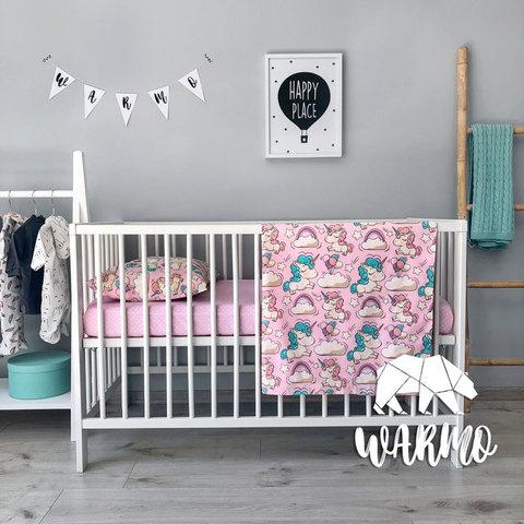 Постіль дитяча з рожевими єдинорогами фото