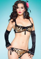 Леопардовый лиф и трусики с пайетками