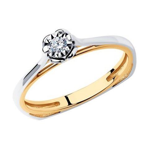 1012171 - Кольцо из комбинированного золота с родированием с бриллиантом