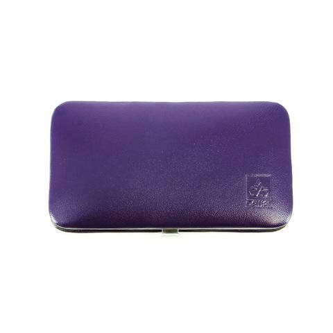 Маникюрный набор Dewal, 5 предметов, цвет фиолетовый, кожаный футляр