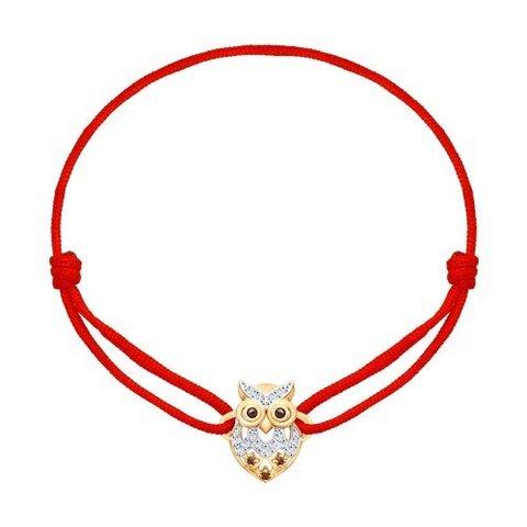 051010 - Браслет-красная нить с подвеской Сова из золота с фианитами
