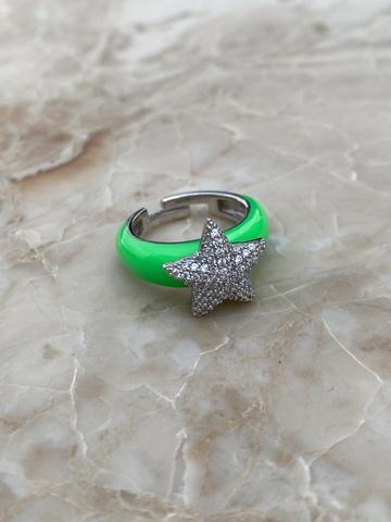 Кольцо Файви из серебра с зеленой эмалью