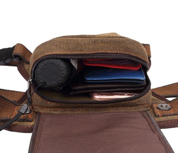 BAG397-2 Удобная набедренная мужская сумка из ткани фото 04