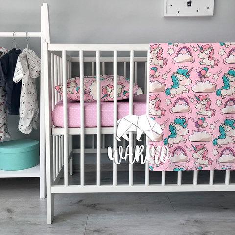 Дитяча постільна білизна з рожевими єдинорогами фото