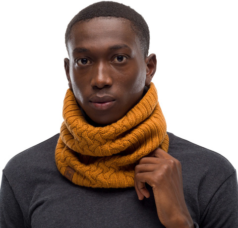 Вязаный шарф-труба с флисом Buff Neckwarmer Knitted Polar New Helle Mustard фото 2