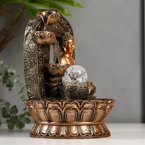 Фонтан настольный от сети, подсветка Будда в арке с водопадом, 30х21х21 см