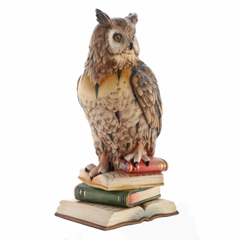 Деревянная статуэтка «Сова на книгах»