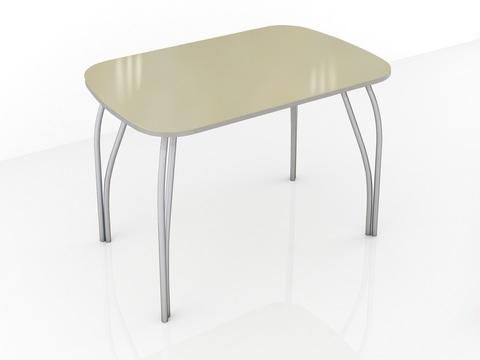 Стол обеденный со стеклом Лотос 1000х600 ЛДСП, металл ТЭКС лакобель ваниль