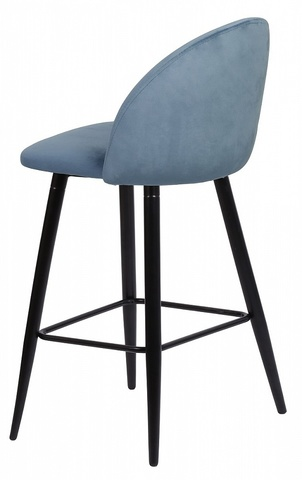 Барный стул MALIBU пудровый синий, велюр G108-56 М-City (обеденный, кухонный, для гостиной), Материал каркаса: Металл, Цвет каркаса: Чёрный, Материал сиденья: Велюр, Цвет сиденья: Пудровый синий, Цвет: Синий, Материал сиденья: Ткань