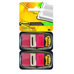 Клейкие закладки Post-it пластиковые красные 2 диспенсера по 50 листов 25.4x43.2 мм