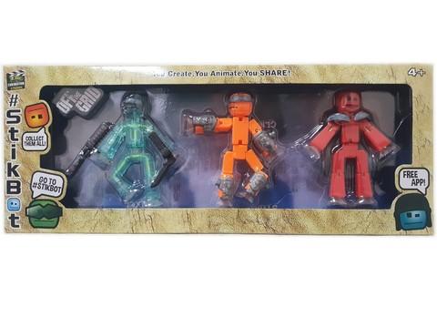 Набор 3 фигурки StikBot 8 см. с аксессуарами