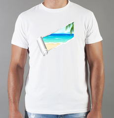 Футболка с принтом Море, Океан, волны (Sea, ocean, waves) белая 0013