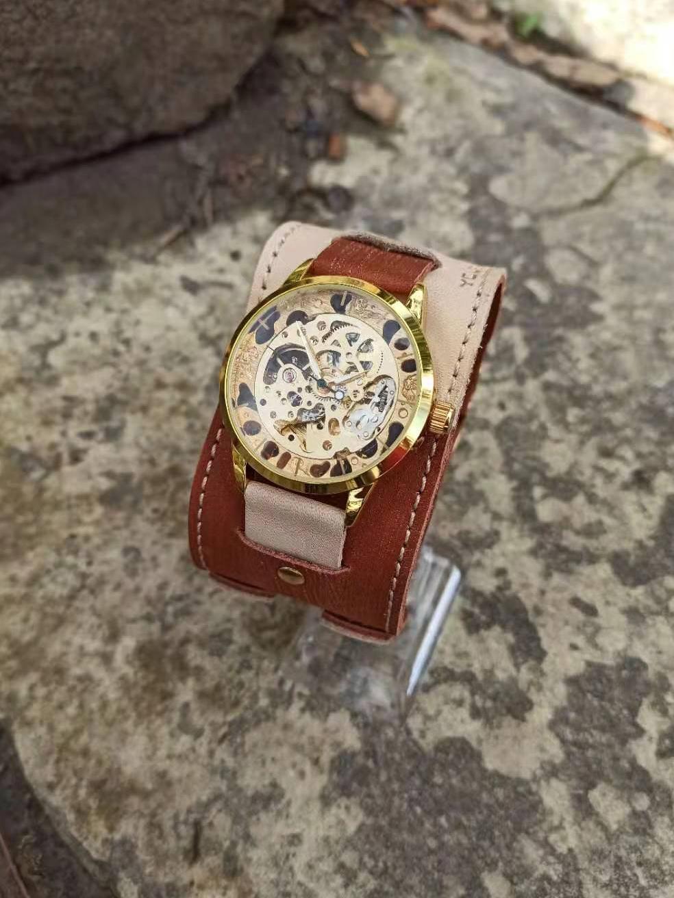 Часы скелетоны мужские механические Cappuccino YOURTIME