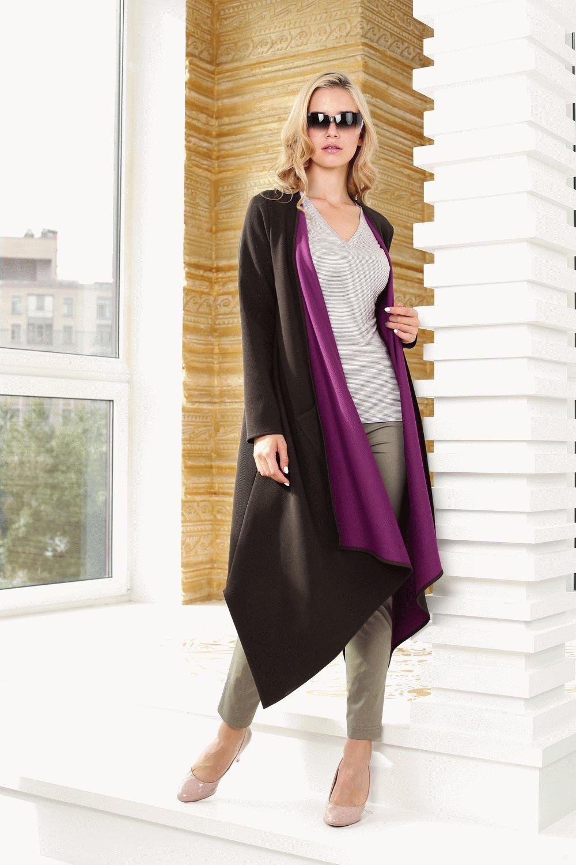 Жакет Д543-203 - Стильный, удлиненный кардиган с асимметричной линией низа и яркой, контрастной изнанкой. По бокам функциональные накладные карманы, можно носить на распашку или с поясом. Незаменимая вещь для прохладной погоды, хорошо сочетается как с брюками или юбками, так и с платьями.