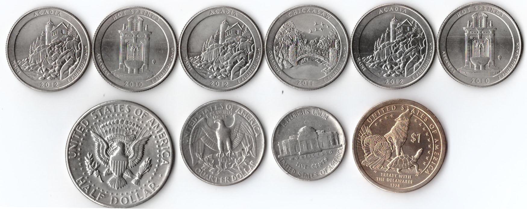 """Лот из 10 монет США. 25 центов """"Парки"""" 6 монет, 50 центов 1971, 25 центов 1984, 5 центов 1985, 1 доллар """"Сакагавея"""""""