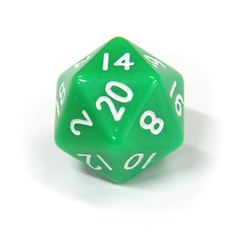 Зеленый двадцатигранный кубик (d20) для ролевых и настольных игр