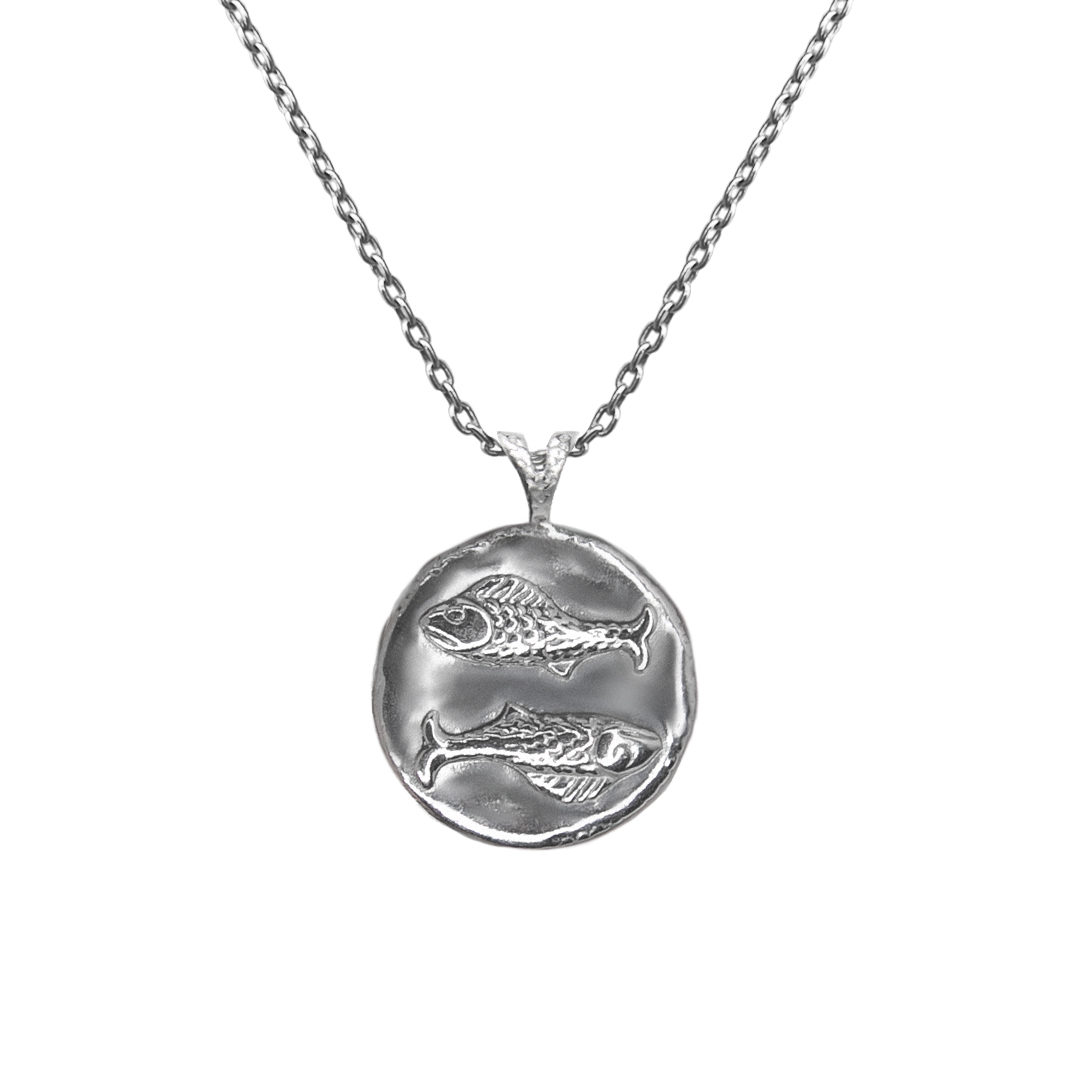 Pendant, Zodiac sign Pisces on a chain, sterling  silver