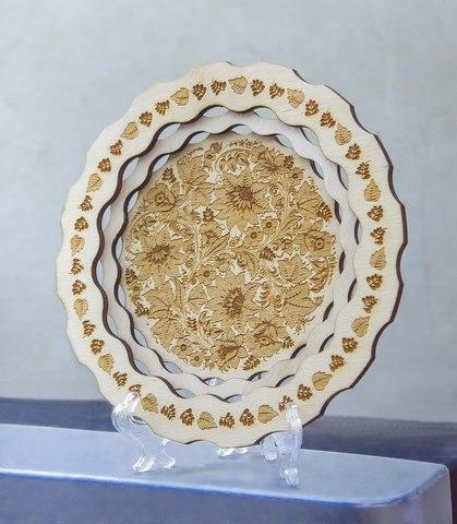 Тарелка ДекорКоми сувенирная из дерева