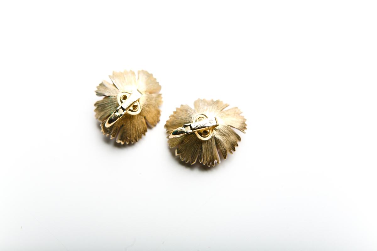 Нежные клипсы  «Цветы» с эмалью от Trifari 50-е