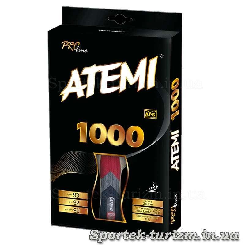Передняя сторона упаковки ракетки Atemi 1000
