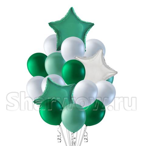Букет шаров белый и бирюзовый со звездами