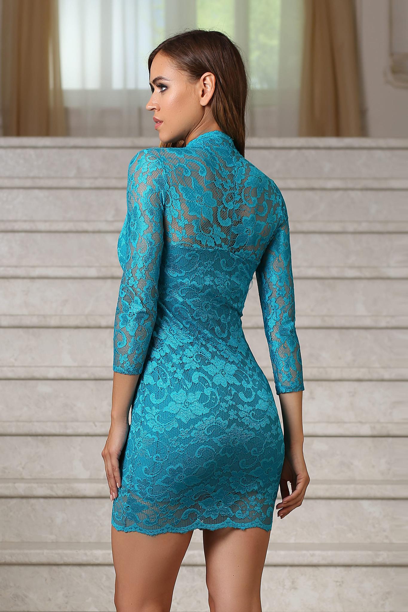 Короткое кружевное платье с V-образным вырезом, бирюзовое