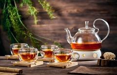 Заварочный чайник с подогревом от свечи из керамики в наборе с чашками, ложками и подставками из бамбука