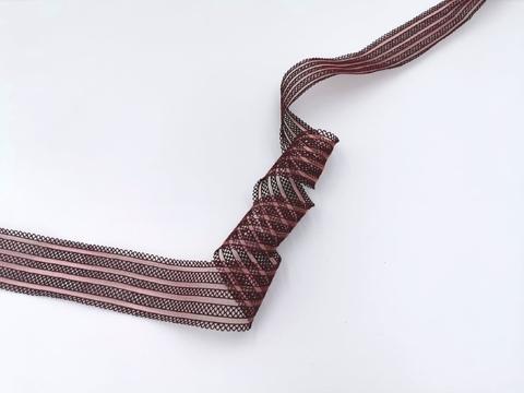 Резинка с прозрачными нейлоновыми вставками, 3,5 см, бургунди, (Арт: RNV-003), м